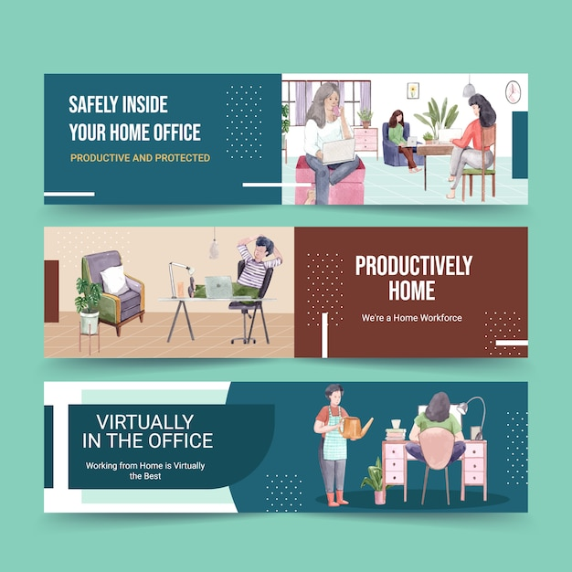 Люди работают из дома с ноутбуками, пк за столом, за диваном. домашний офис баннер концепция акварельные иллюстрации Бесплатные векторы