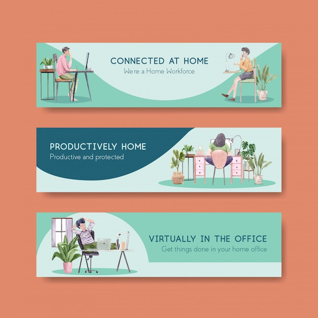 People are working from home  with laptops, pc at table, at sofa. home office banner concept watercolor illustration Free Vector