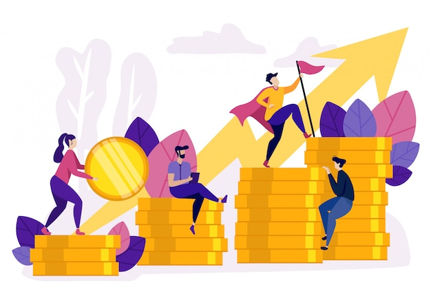 People ascending by coins graph Premium Vector