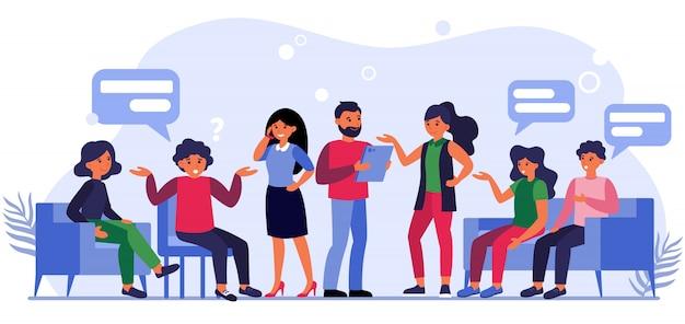 Люди задают вопросы бизнесменам Бесплатные векторы