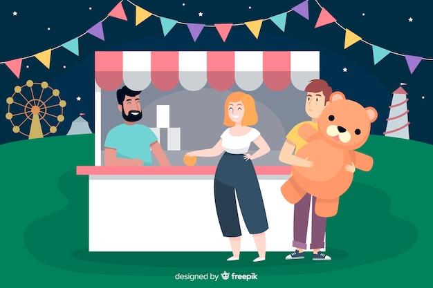 Люди на ночной ярмарке Бесплатные векторы