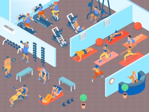 심장 웨이트 트레이닝 및 피트니스 클래스 3d 수평 아이소 메트릭 영역이 큰 체육관에서 사람들 무료 벡터