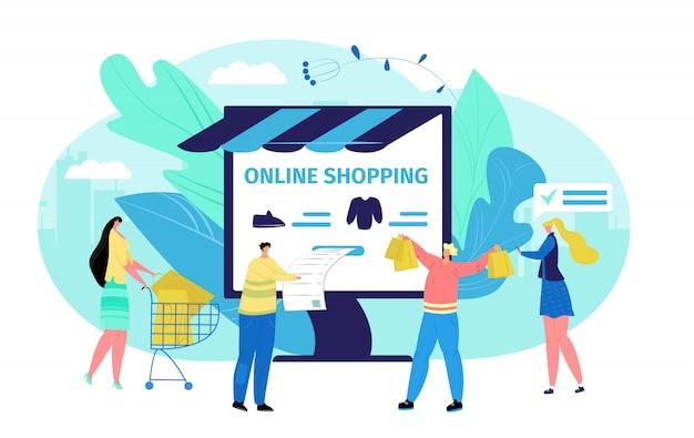 ビジネスコンピューターオンラインストアの概念、イラストの人々。インターネット規模の顧客、女性男性は服を買う。コマースショッピングアプリ技術、漫画の支払い。 Premiumベクター