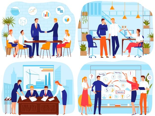 ブレーンストーミングのオフィスビジネス会議の人々はベクトルイラストです。漫画のビジネスマンのリーダーが握手、会議で会う、従業員スタッフのブレーンストーミング Premiumベクター
