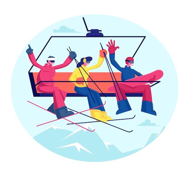 스키 리조트 휴일에 사람들. 장비를 갖춘 스키어와 스노 보더는 산 케이블카를 올라갑니다. 만화 평면 그림 프리미엄 벡터