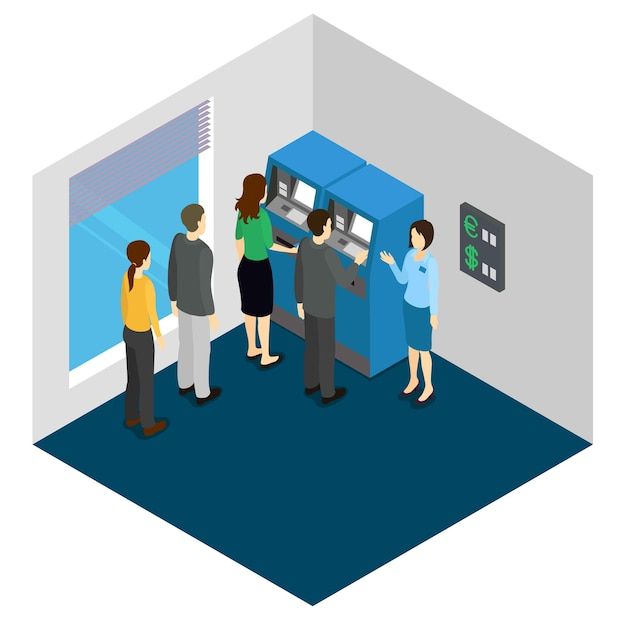 People and atm machine isometric design Free Vector