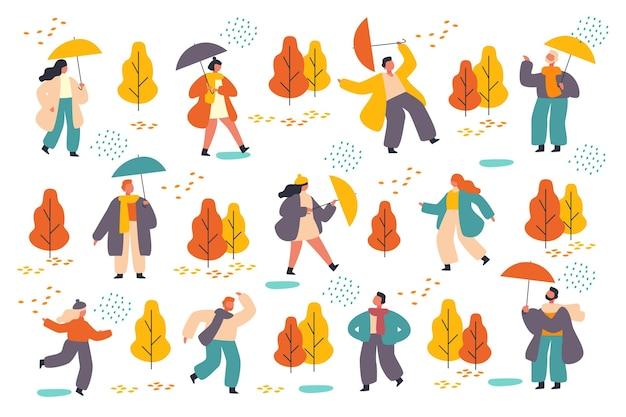 Persone nella collezione autunno parco Vettore gratuito