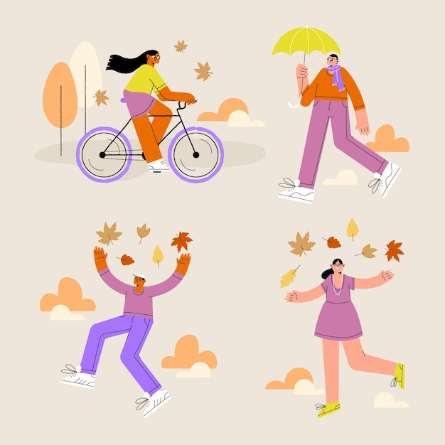 People in the autumn park doing different activities Free Vector