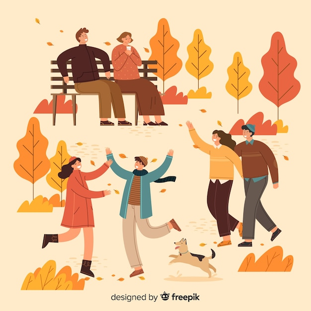 People in the autumn park illustration Free Vector