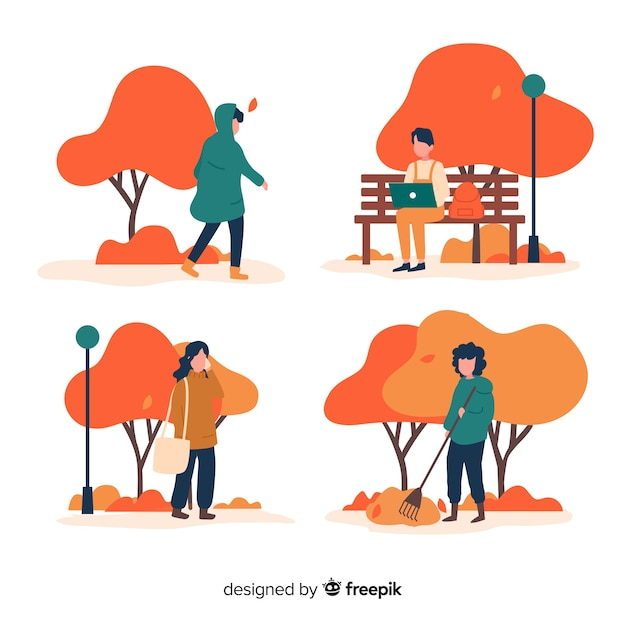 People in the autumn park walking Free Vector