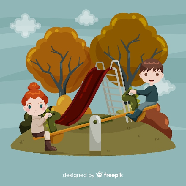 People in the autumn park Free Vector