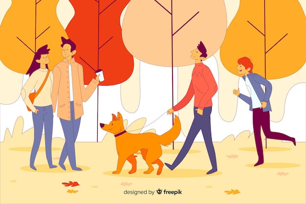 People in an autumn park Free Vector