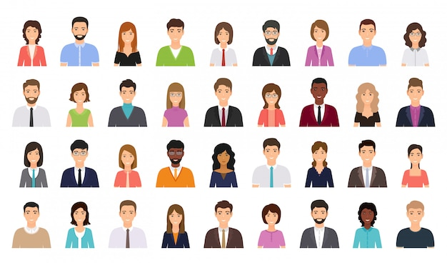 People avatar. business person icon. vector illustration. flat design. Premium Vector