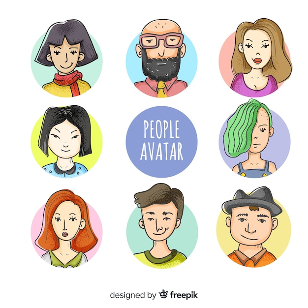 People avatar collection hand drawn Free Vector