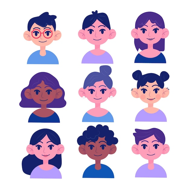 People avatar concept for illustration Free Vector