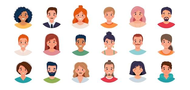 Набор аватаров людей. группа разнообразия молодых мужчин и женщин. Premium векторы