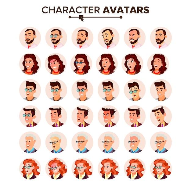 People avatar set. Premium Vector