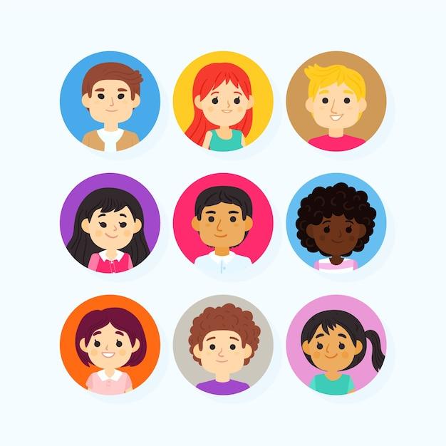 People avatars cartoon style Free Vector