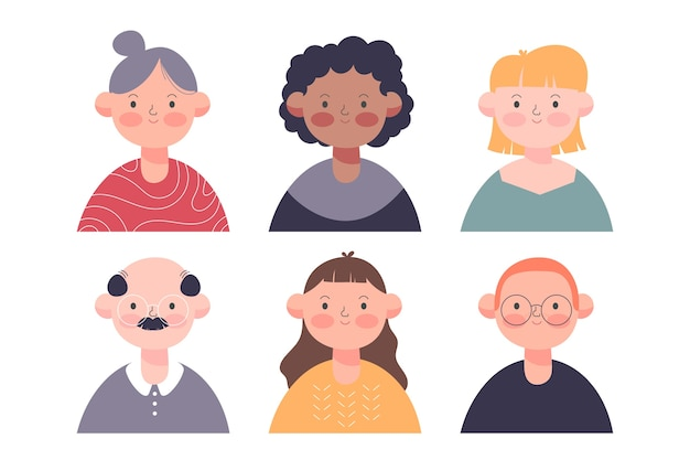 People avatars colorful design Free Vector