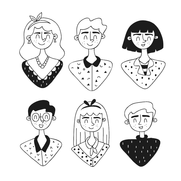 People avatars hand drawn design Free Vector