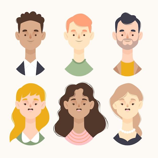 People avatars illustration concept Free Vector