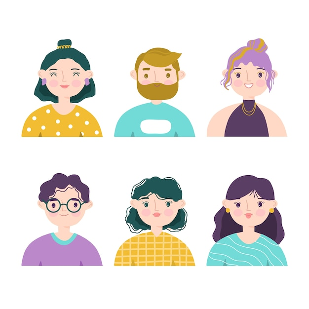 People avatars illustration set Premium Vector