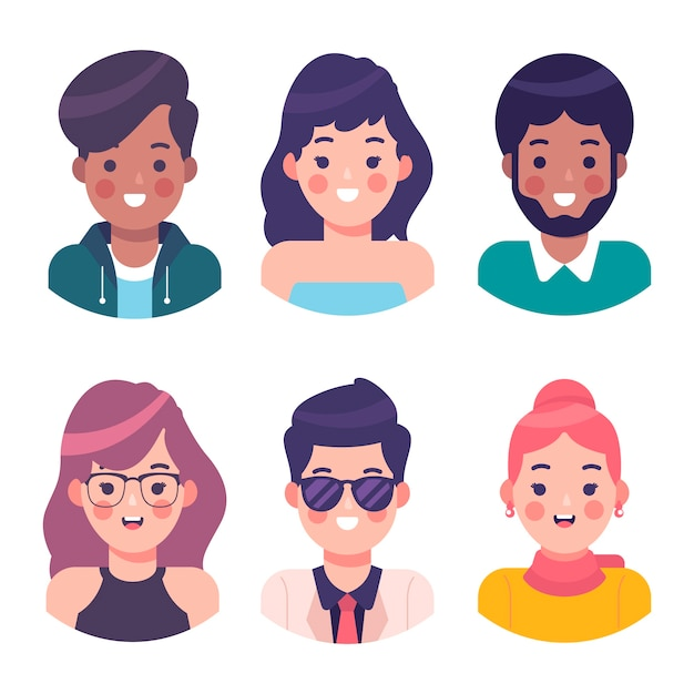 People avatars illustration theme Premium Vector