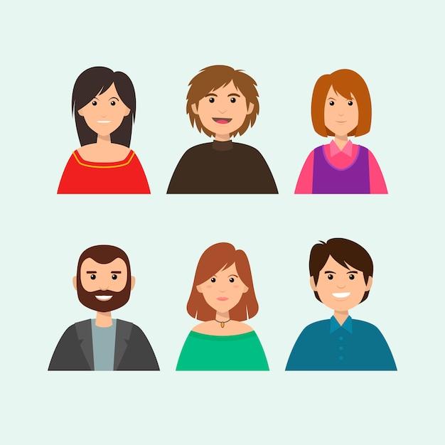 People avatars illustration Free Vector