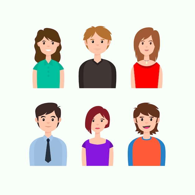 People avatars wearing office and casual clothes Free Vector