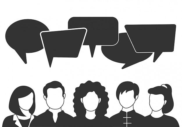 Люди аватары с речью пузыри. мужчина и женщина общаются, общаются, говорят. коллеги, команда, мышление, вопрос, идея, концепция мозгового штурма. Premium векторы