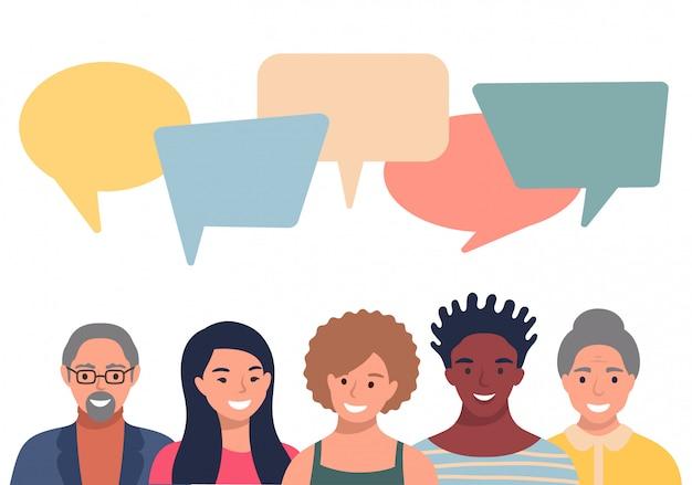 Аватары людей с пузырями речи. Premium векторы