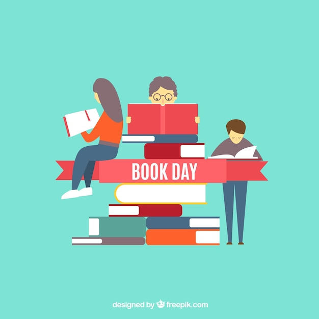 People reading books vector