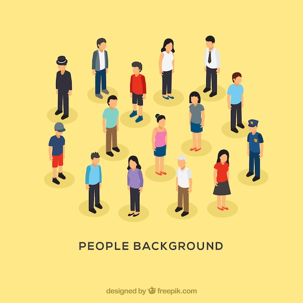 People background with flat design Free Vector