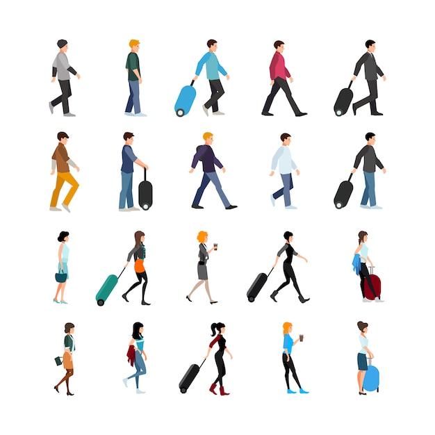 People and baggage set Free Vector