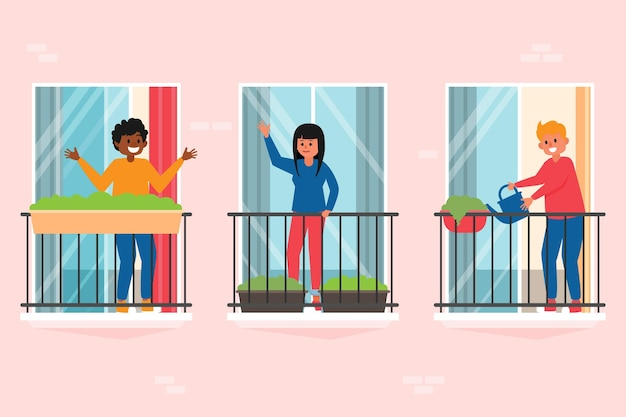 Persone sul concetto di balconi Vettore gratuito