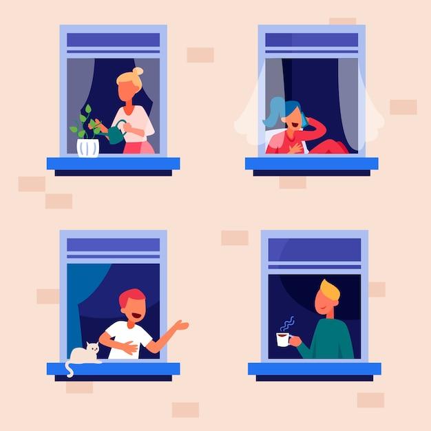 Persone su balconi concetto di quarantena Vettore gratuito