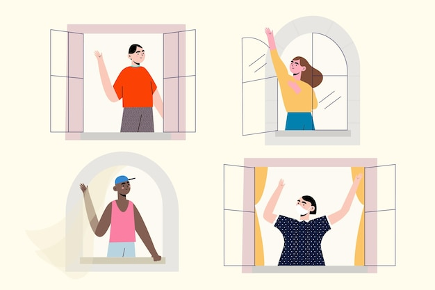 People on balconies waving collection Free Vector