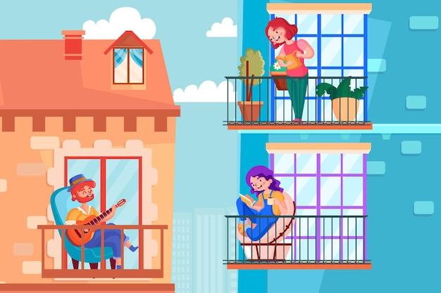 Le persone sul balcone si prendono cura della casa e di se stesse Vettore gratuito