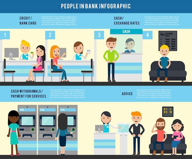 Persone in banca modello infografica piatto Vettore gratuito