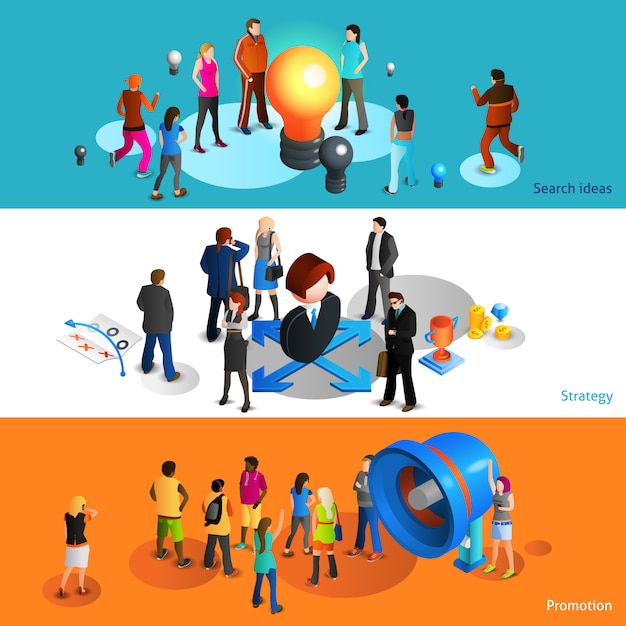 People banners set Free Vector
