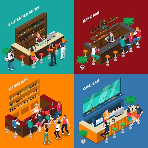 People in bar isometric 2x2 design concept Free Vector