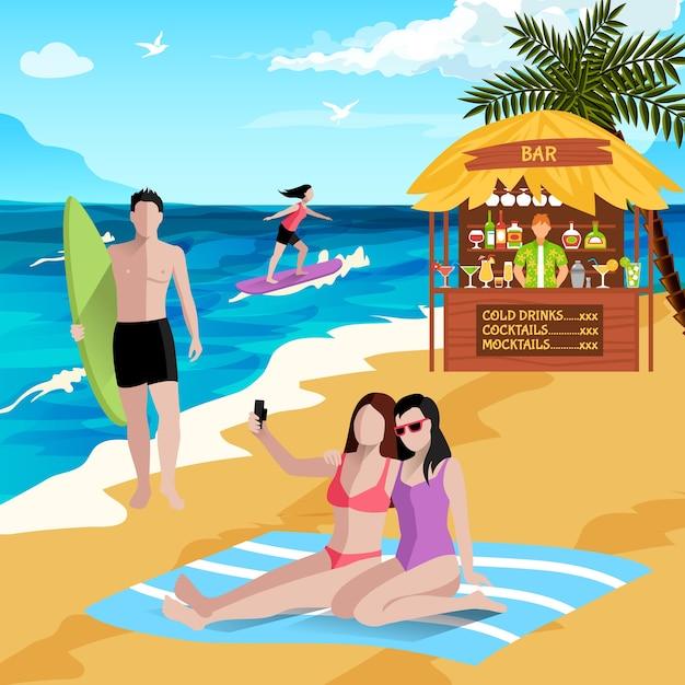 Persone su sfondo spiaggia con personaggi umani senza volto di vacanzieri surfisti di bordo che fanno selfie con bar sulla spiaggia Vettore gratuito