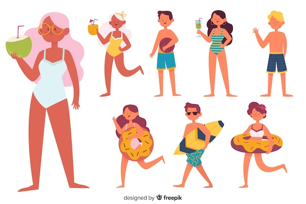 People at beach collection Free Vector