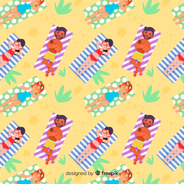 People at the beach pattern Free Vector