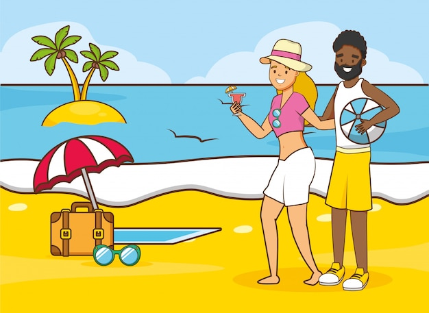 People beach vacations Free Vector