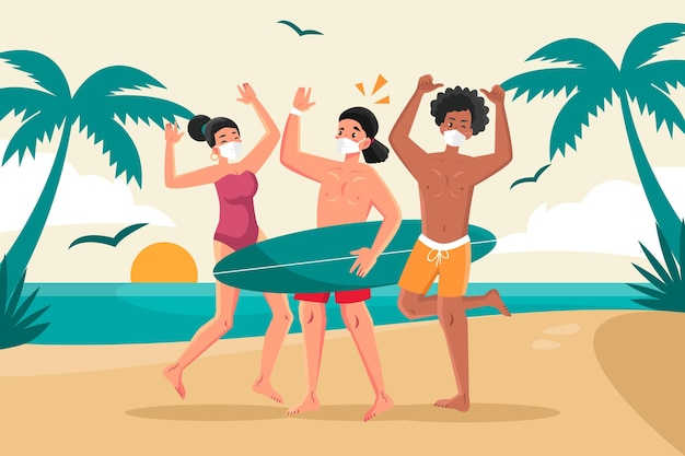 People on the beach wearing face masks Premium Vector