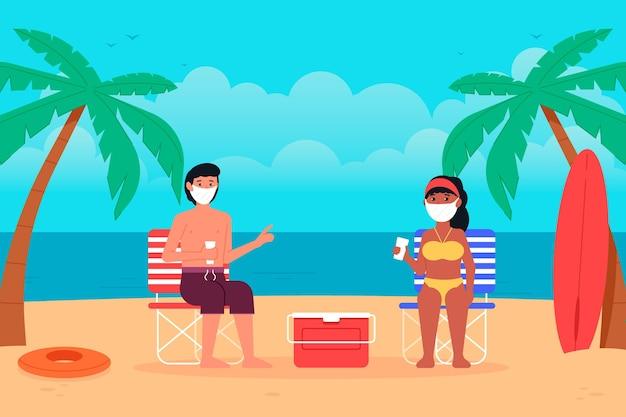 Persone sulla spiaggia indossando maschere per il viso Vettore gratuito