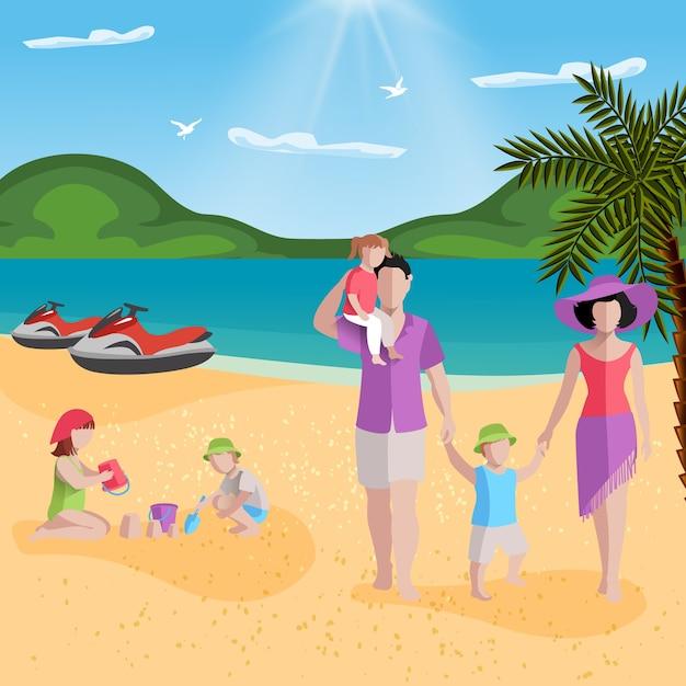Persone sulla spiaggia con paesaggi da spiaggia tropicale e personaggi senza volto di membri della famiglia, genitori con bambini Vettore gratuito