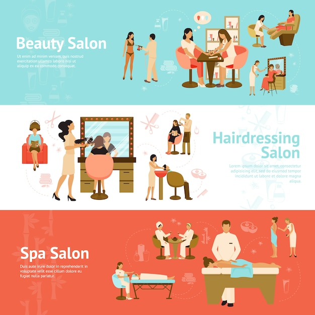 People in beauty and spa salon horizontal banners Free Vector