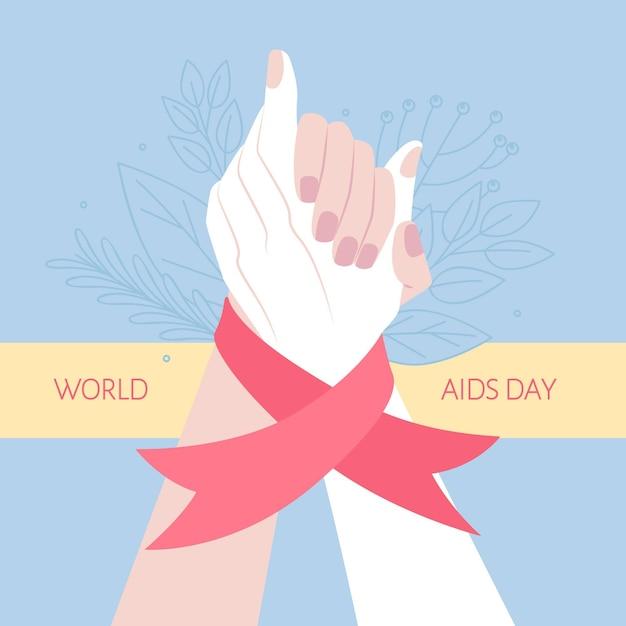 People being supporting on world aids day Free Vector